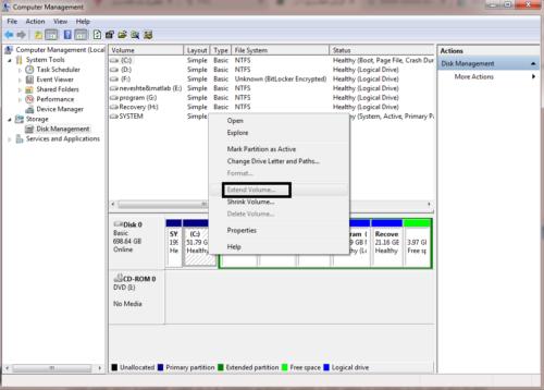 افزایش حجم درایو C در ویندوز