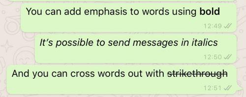بولد کردن متن در واتساپ