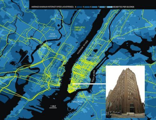تصویر خطوط ارتباط فیبر نوری در شهر نیویورک