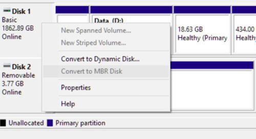پارتیشن دیسک از MBR به GPT