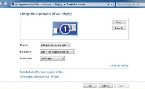 انتخاب گزینه Screen resolution